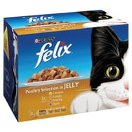 Felix Pouch Cat Food Chicken Turkey, Poultry & Duck in Jelly 12 x 100g